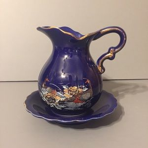 Other - Vintage cobalt blue peacock pitcher vase